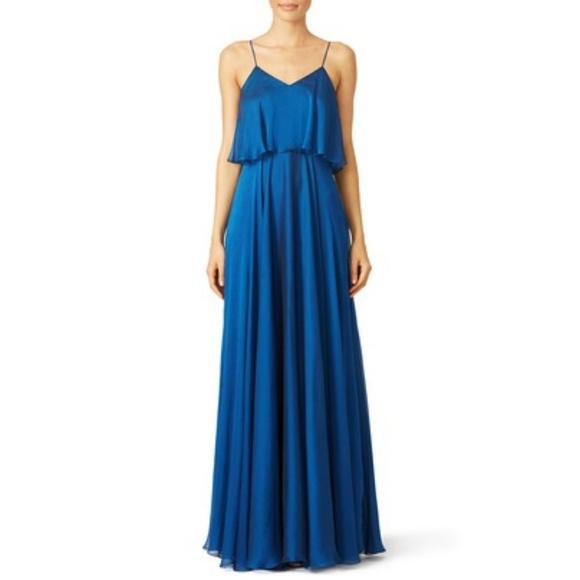 Halston Heritage Woman Cutout Crepe Maxi Dress Cobalt Blue Size 10 Halston Heritage Cheap Sale Perfect 3V2hKly
